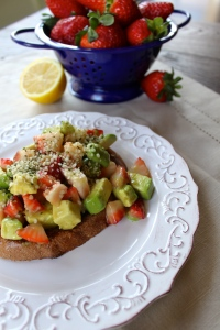 Recipe from lunchboxbunch.com Toss together strawberries, avocado, lemon juice, fresh ginger, maple syrup and assemble on top of your favorite toasted bread. Garnish with hemp seeds. This is by far my favourite new breakfast!