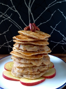 GF Apple & Pecan Pancakes *add 1 tsp. cinnamon, 1/2 c. chopped pecans and 1-2 chopped apples