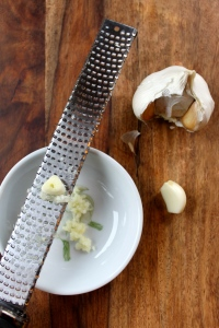 Quick Tip: using a microplane to mince the garlic is super fast and easy